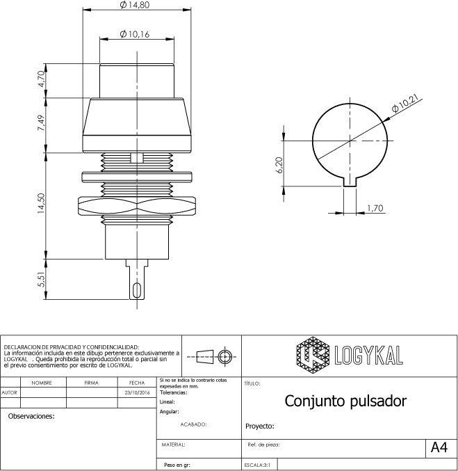 Data Sheet Pulsador