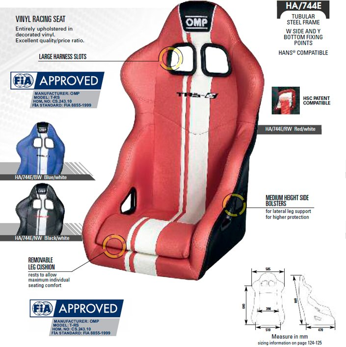 Asiento OMP TRS Plus Size